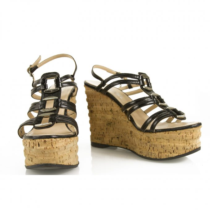 Chanel Black Patent Leather Cork Silver Tone HW Wedge Sandal Platform Shoes 37