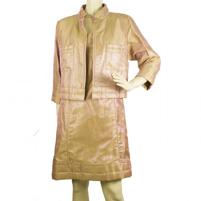 CHANEL Peachy Pink Shiny Moire Short Zipper Jacket Mini Dress Suit Set sz 36