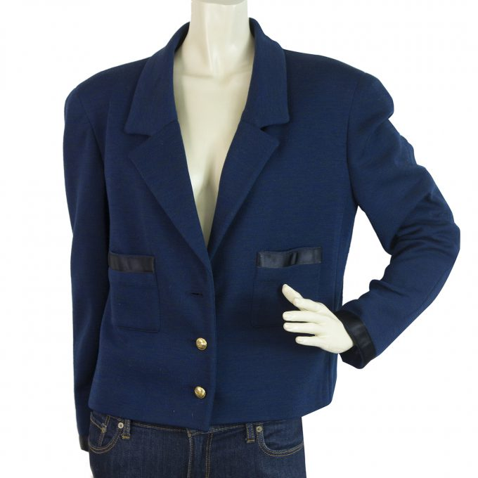 CHANEL Vintage Blue Gold Buttons Single Brusted Short Jacket size 42