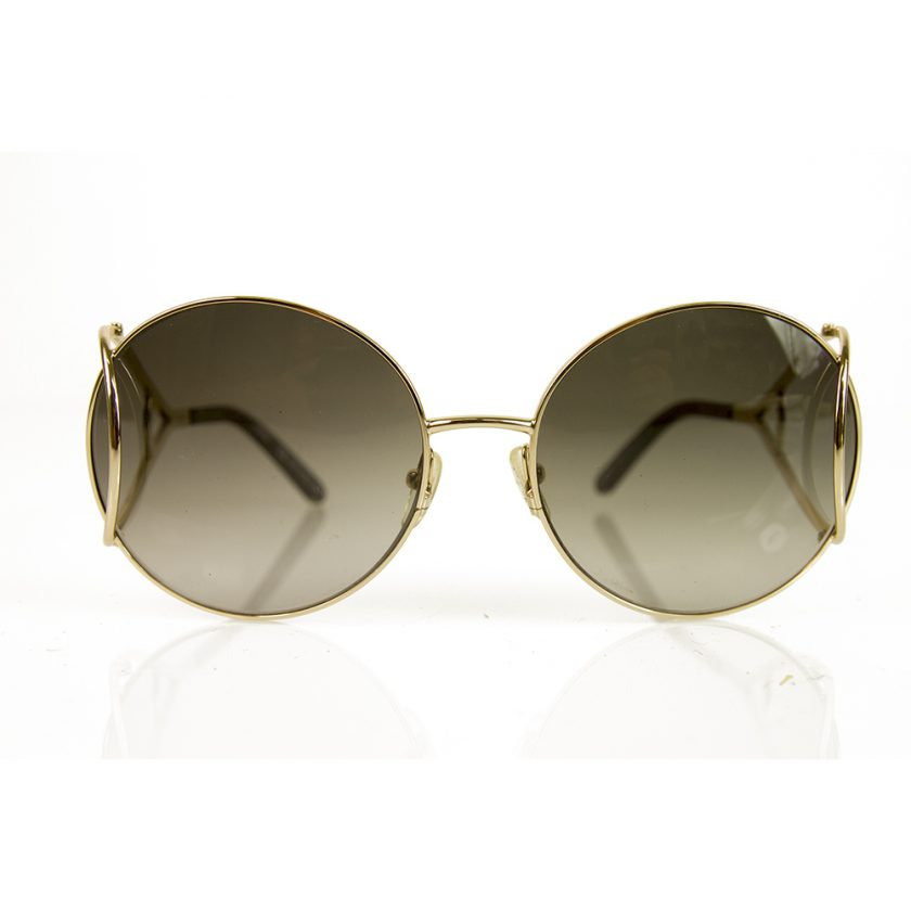 Chloe CE124S 736 Brown Gradient Gold Tone Metal Sunglasses Round Frame
