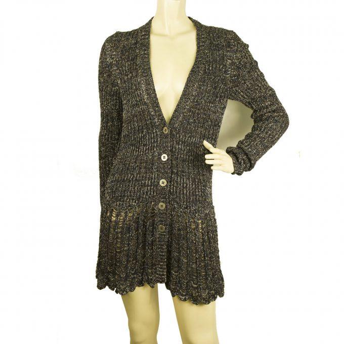 Chloe Metallic Silver Blue Brown Silk Knit Long Cardigan Mini Dress size S