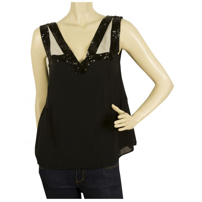 See by Chloe Black Nude Sequined 100% Silk A- Line Tank Top Blouse size 42