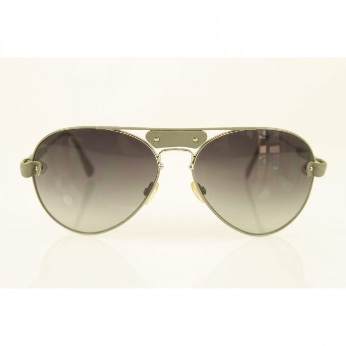 Chloe Tamaris CL2104 Silver Metallic Gray Leather Trim Aviator Sunglasses w. Box