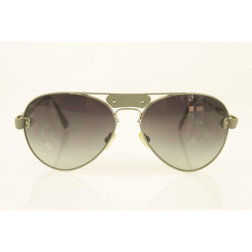 Chloe Tamaris CL2104 Silver Metallic Gray Leather Trim Aviator Sunglasses w. Box