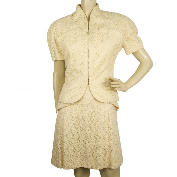 Christian Dior Champagne Cream Broderie Silk Jacket Dress Suit Set sz 38 40