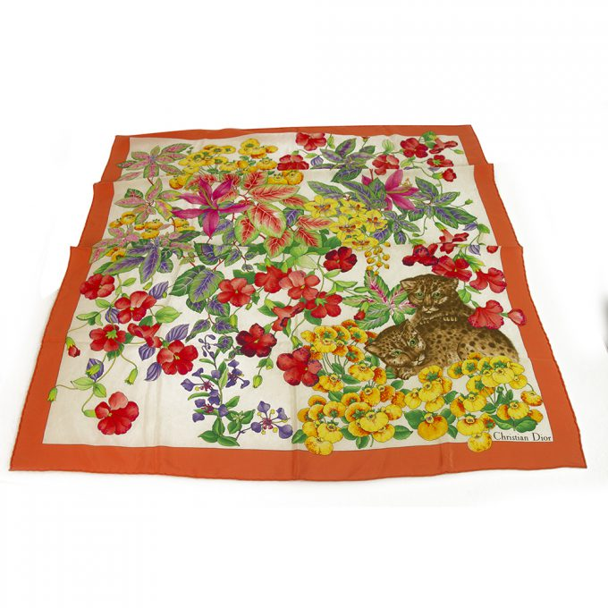 Christian Dior Multi Color Floral 100% Silk Scarf w. Leopards Foulard Wrap