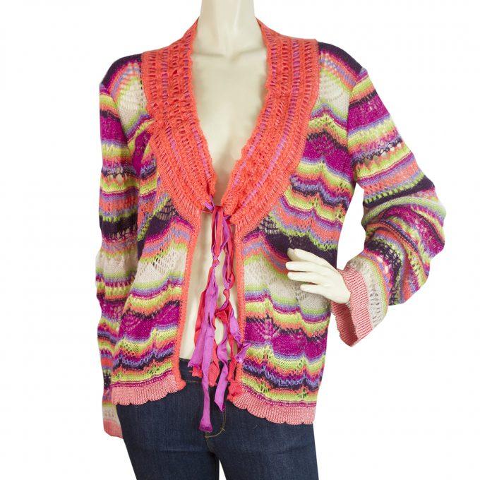 Christian Lacroix Zig Zag Striped Multicolored Woolen Cardigan Cardi - Sz M