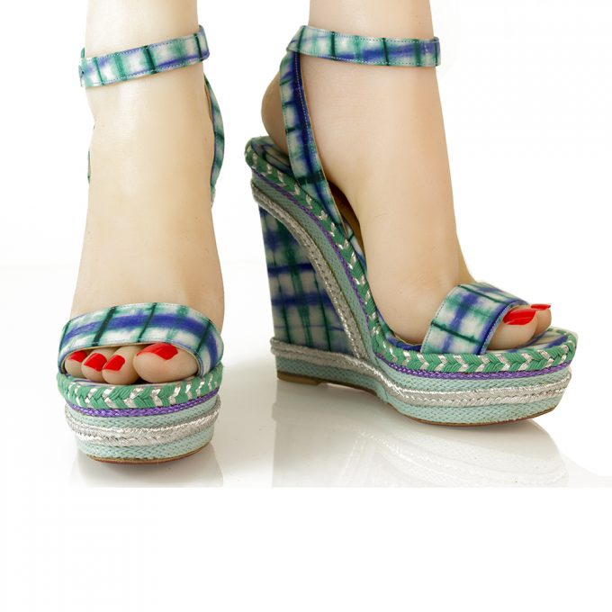 Christian Louboutin Blue Green Check Platform Wedges Slingback Anckle Strap 37
