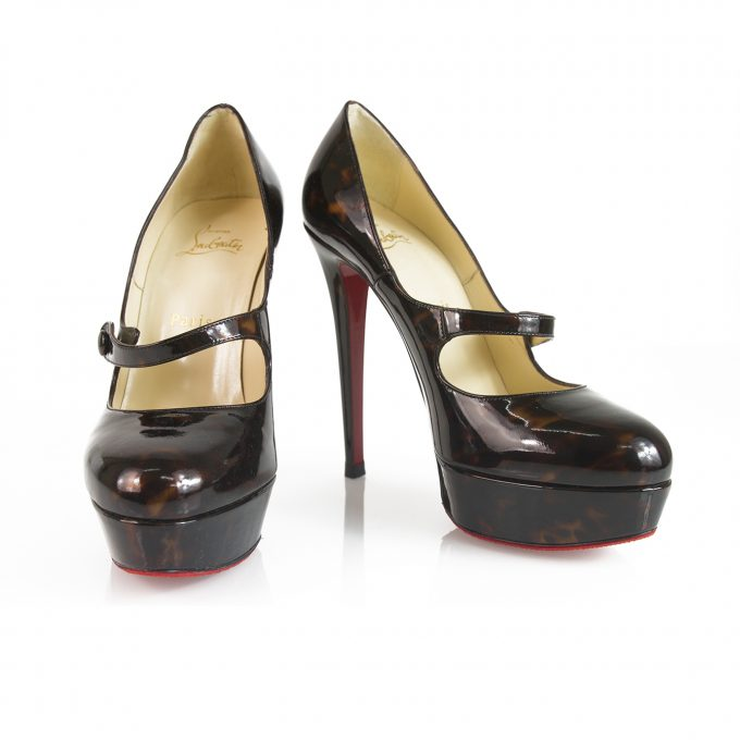 Christian Louboutin Wallis 140mm Round Toe Brown Black Patent leather Heels 38