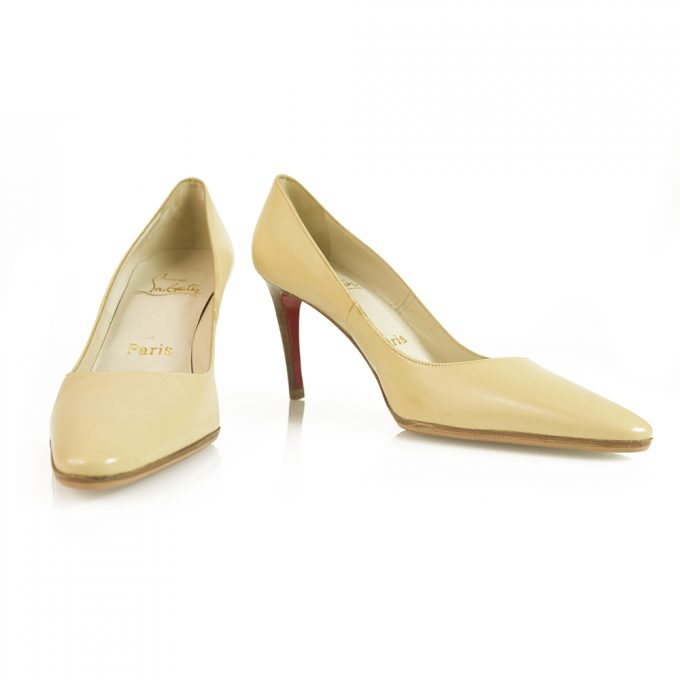 Christian Louboutin Classic Beige leather almond toe platform pumps sz 36
