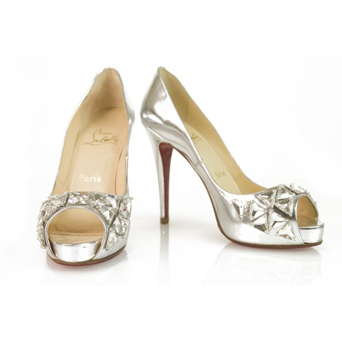 Christian Louboutin Silver Leather Embellished Crystal Peep toe platform pump 37