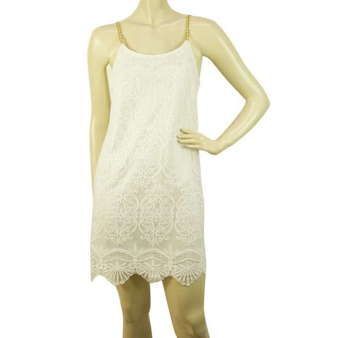 Cocktail White Lace w. Deep V Back Gold Spaghetti Sraps Mini Dress Sz M