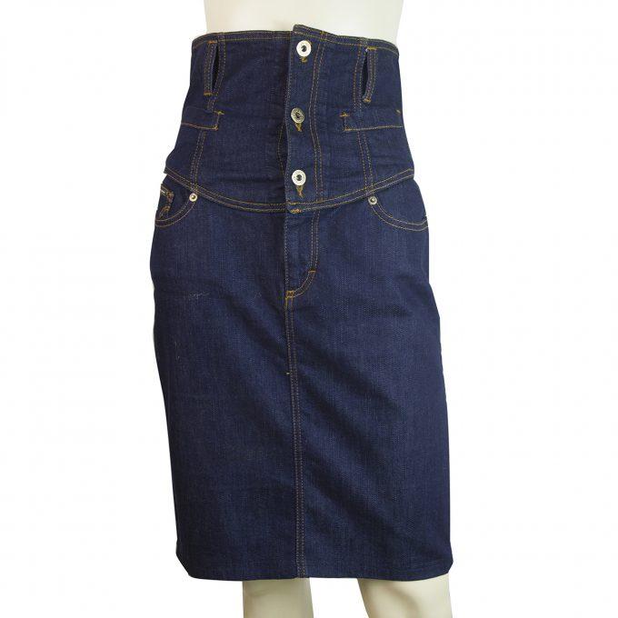 Dolce & Gabbana D&G High Waist Knee Length Blue Denim Skirt Jeans Sz 27