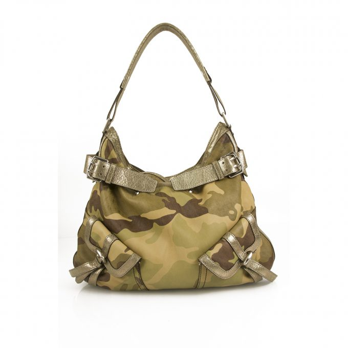 Donna Karan DKNY Army Camo Canvas Silver Leather Hobo Shoulder bag