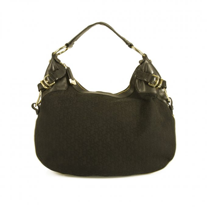 Donna Karan DKNY Signature Canvas Black Leather Studded Hobo Shoulder bag