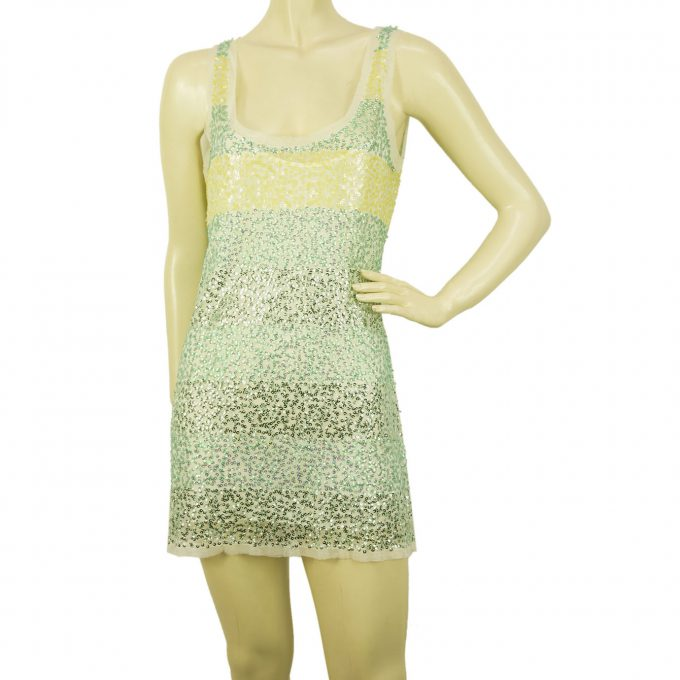 DKNY Green & Yellow Striped Sleeveless Sequins 100% Mini Length Dress sz S