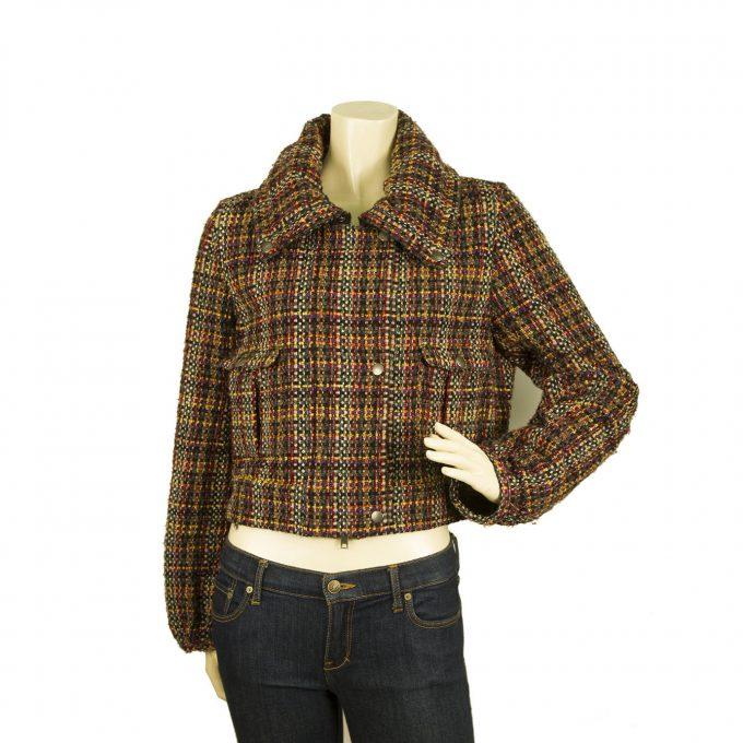 Donna Karan DKNY New York Multicolored Tweed Short Zipper Front Jacket size 10