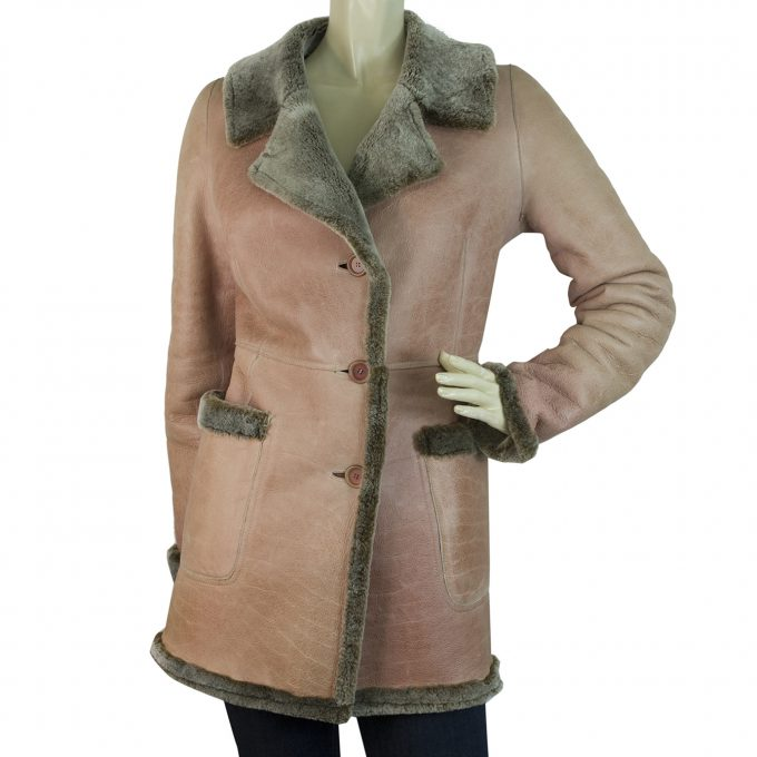 DKNY Donna Karan Warm Winter Women's Pink Gray Sheepskin Jacket Coat size S