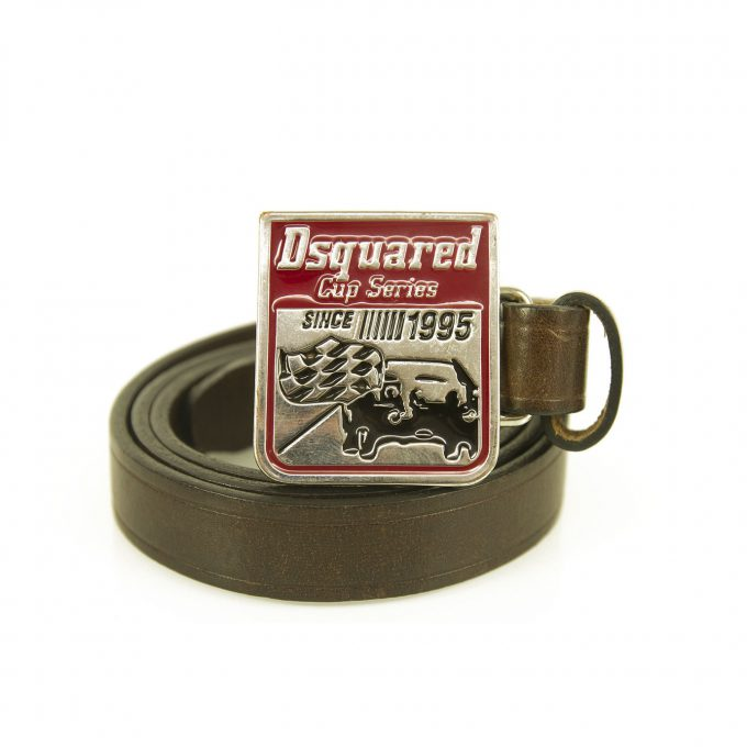 DSquared2 Woman's Brown Red Enamel Silver tone Leather Belt 92cm Cup Series