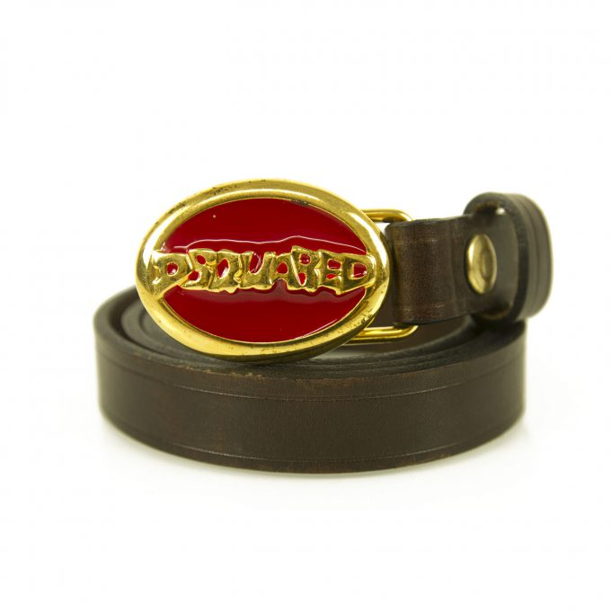 DSquared2 Woman's Brown & Oval Red Enamel Gold tone Leather Belt 99cm 72TP092