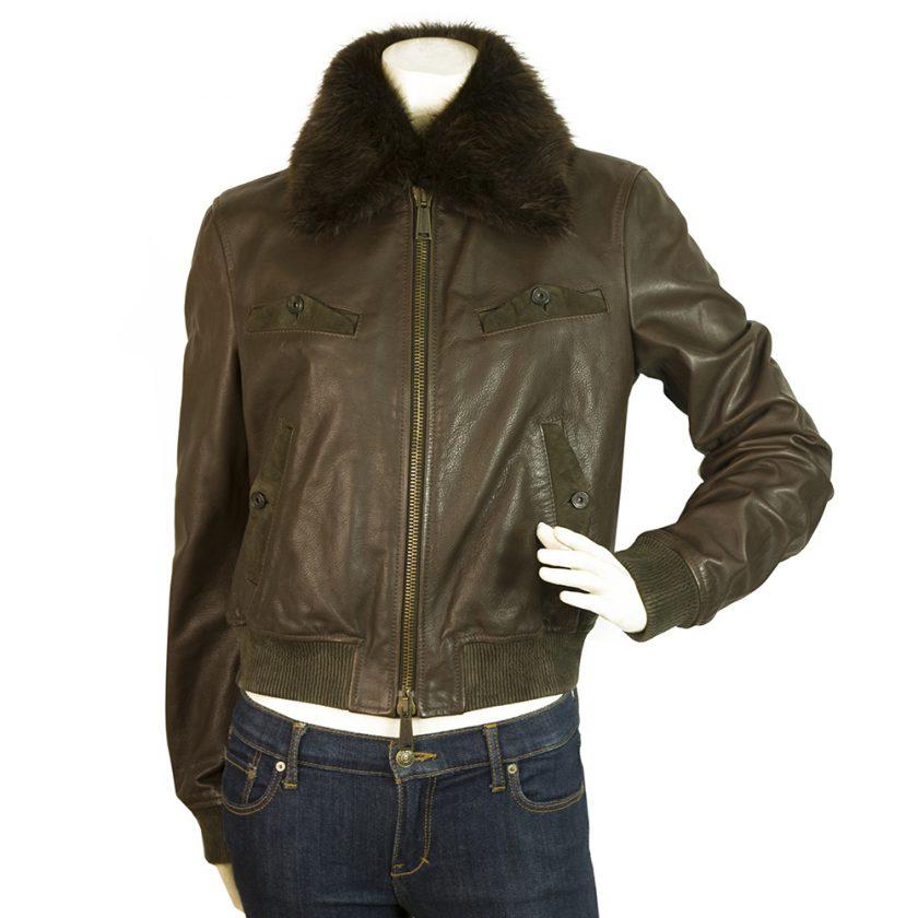 DSqaured2 Brown Leather Designer Biker Jacket with fur collar trim sz 44 IT 10US