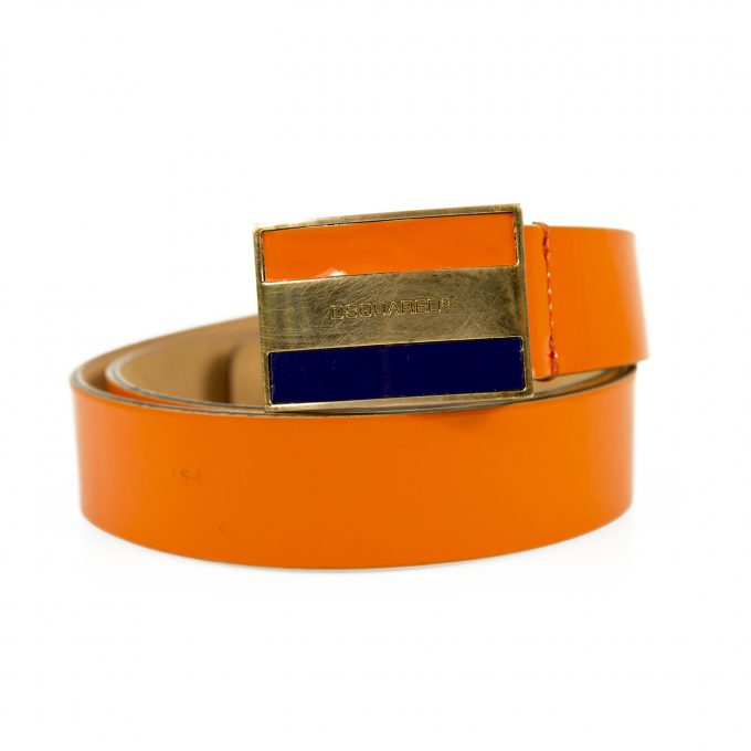 DSquared2 Woman's Orange Patent Leather Rectangular Buckle Belt size S