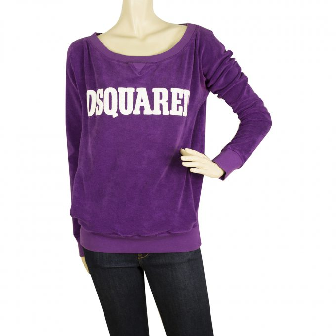 Dsquared 2 D2 Purple Cotton Blend Logo Long Sleeve Sweatshirt Top Blouse Size M