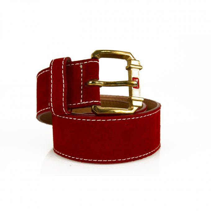 DSquared2 Woman's Red Suede Leather w. Gold Tone rectangular Buckle Belt size S