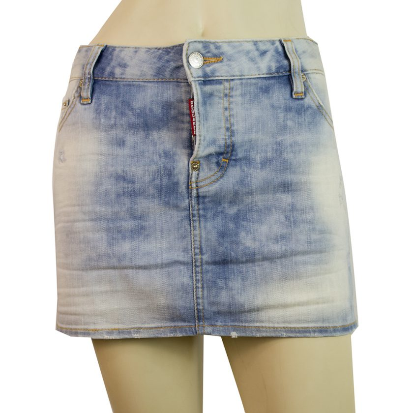 Dsquared 2 D2 Blue Mini Distressed Denim Jeans skirt size 42