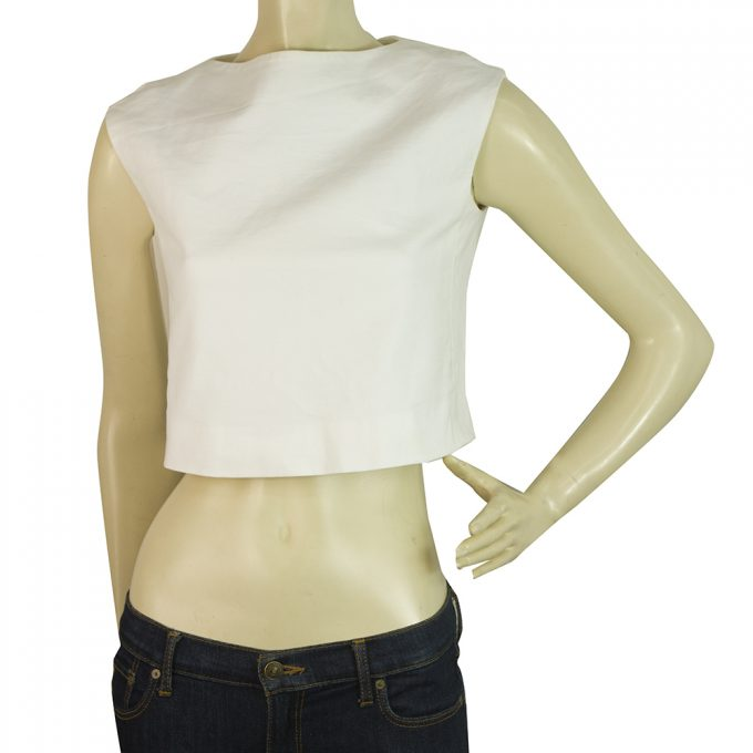 Dsquared2 D2 White Sleeveless Cropped Top Blouse Back Zipper size 40