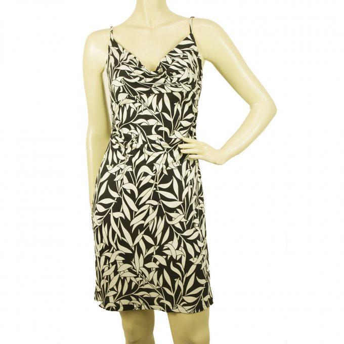 Diane Von Furstenberg Vintage ANNETTE DVF 100% Silk Floral Black White Dress 4