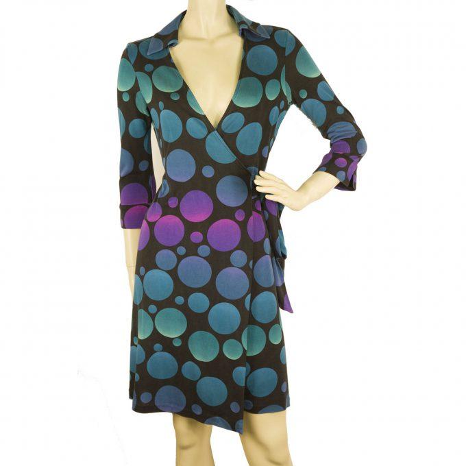 DVF Diane Von Furstenberg Justin Collar Wrap Blue Silk Jersey Dress Bubbles Sz 6