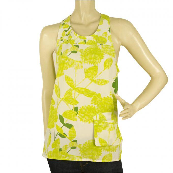 Diane Von Furstenberg DVF Cheryl Lime Green Silk floral Tank Top Blouse Sz 6