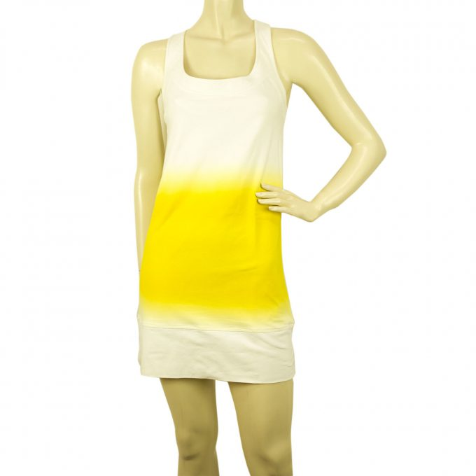 Diane Von Furstenberg DVF White Yellow Tie Dye Sleeveless Mini Summer Dress 4