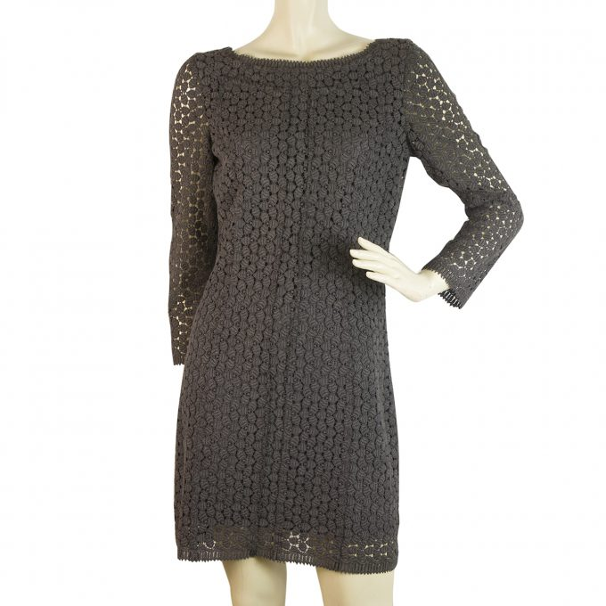 DVF Diane Von Furstenberg Caritan Charcoal Gray Crochet Mini Dress Sz 8