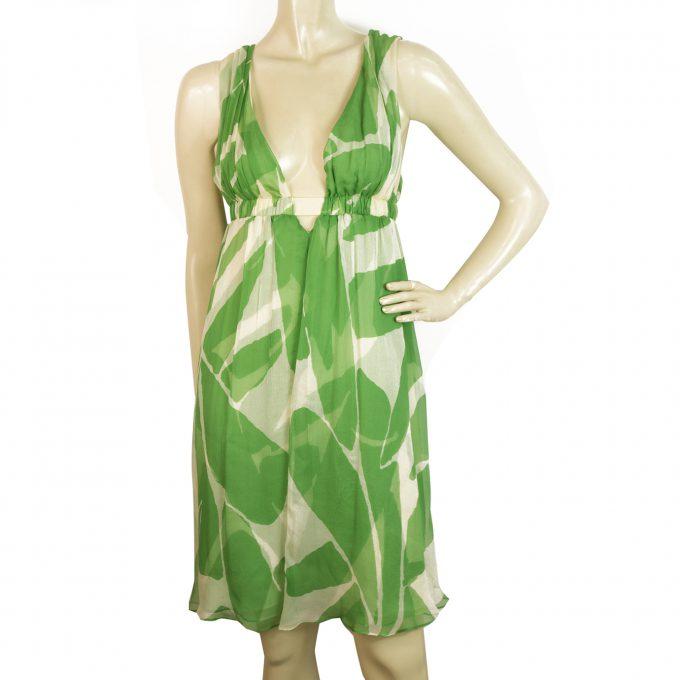 DVF Diane Von Furstenberg Belleview Silk Green Leaves Sleeveless Mini Dress Sz 6