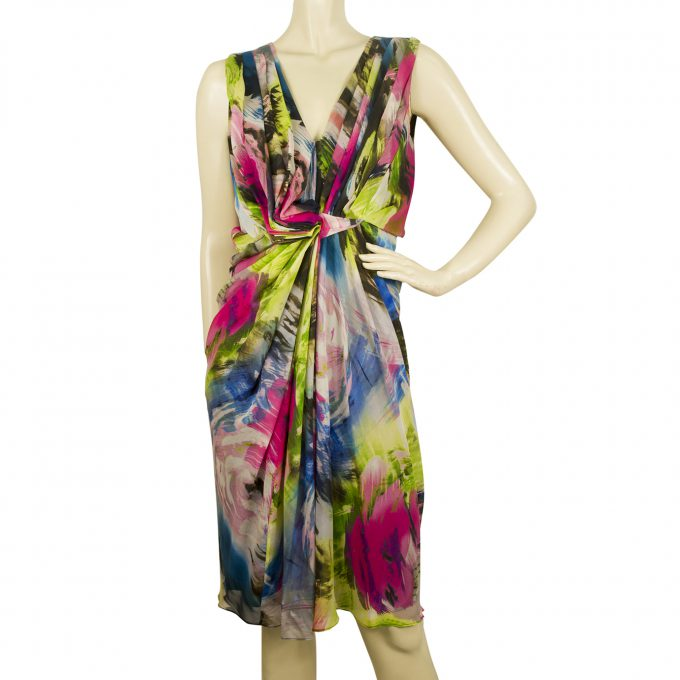 DVF Diane Von Fustenberg Multicolor Silk Printed Sleeveless Dress - Sz 6