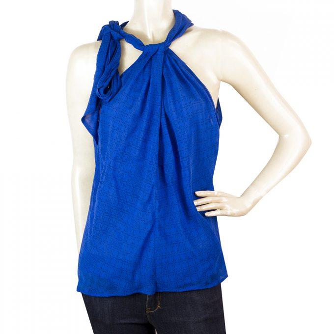 Diane Von Furstenberg DVF Moroccan Blue Silk Halter Neckline Top Blouse Sz 4