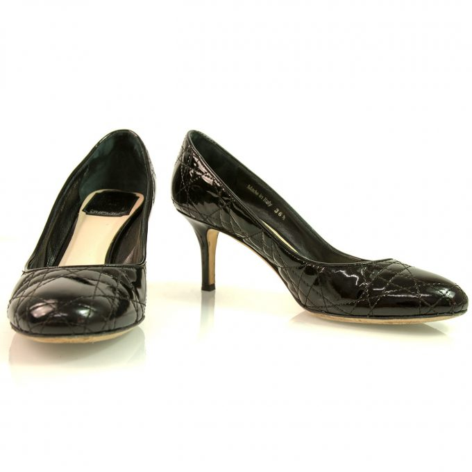 Christian Dior Black Patent leather Cannage Pumps Medium heel Size 36