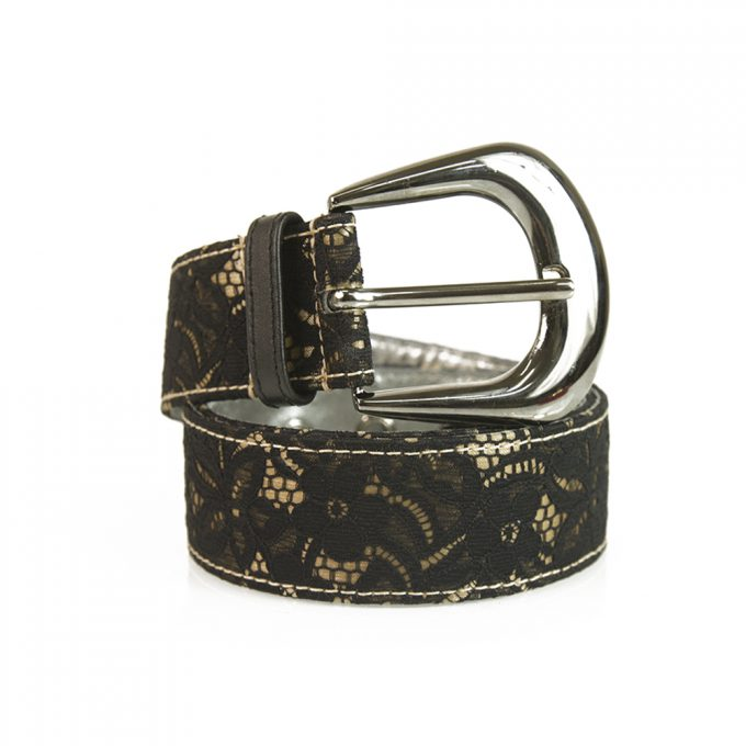 DOLCE & GABBANA D&G Woman's Black Gold Lace Silver Tone HW Belt Size 85 / 34