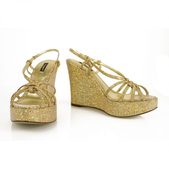 Dolce & Gabbana D&G Gold Glitter Leather Strappy Wedges Platforms sz 40 shoes