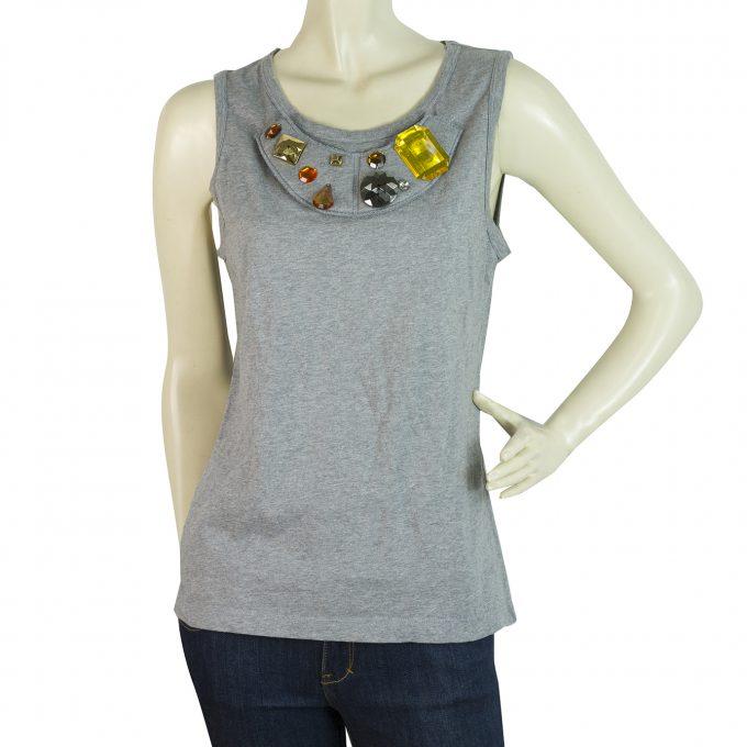 Dolce & Gabbana D&G Gray Large Beads Tank Vest Sleeveless Top size M
