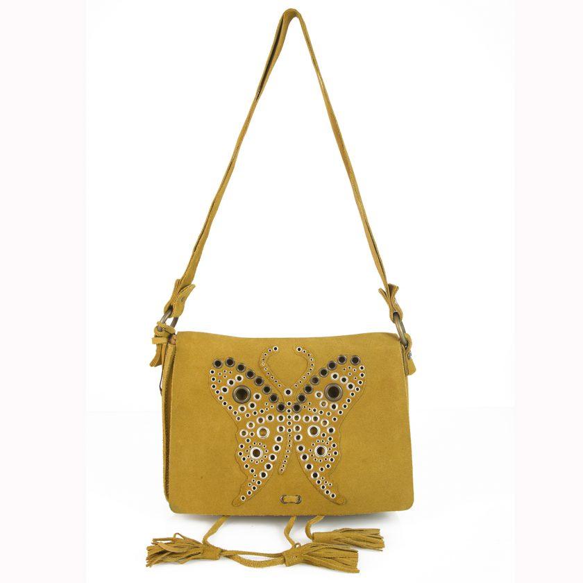 Dolce & Gabbana Camel Brown Suede Leather Boho Butterfly Grommets Shoulder Bag