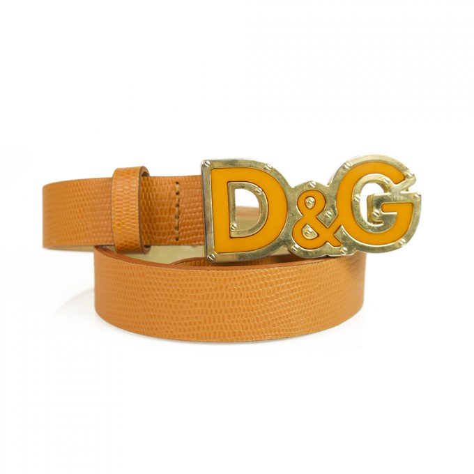 DOLCE & GABBANA WOMAN'S Orange BELT Lizard Embossed D&G ENAMEL 90