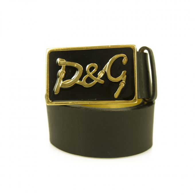 DOLCE & GABBANA D&G Woman's Black & Gold Enameled Leather Belt SZ 75