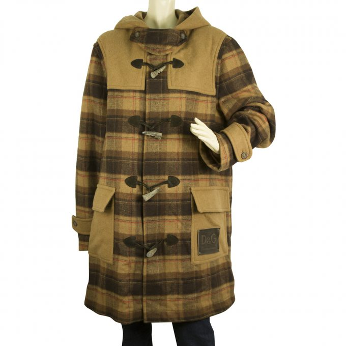 Dolce & Gabbana D&G Brown Beige Hooded Checked Wool Toggle Duffle Coat size XL