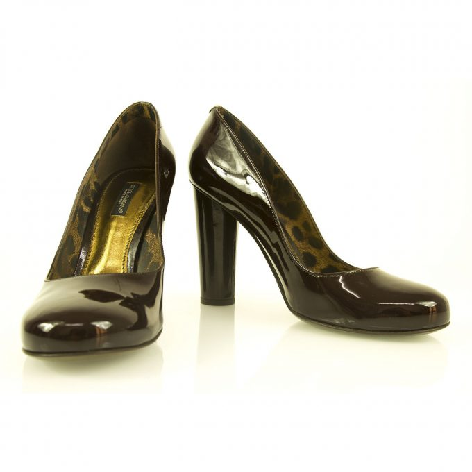 Dolce & Gabbana Brown Patent Leather Pumps Round Toe Cylinder Heel sz 39 shoes