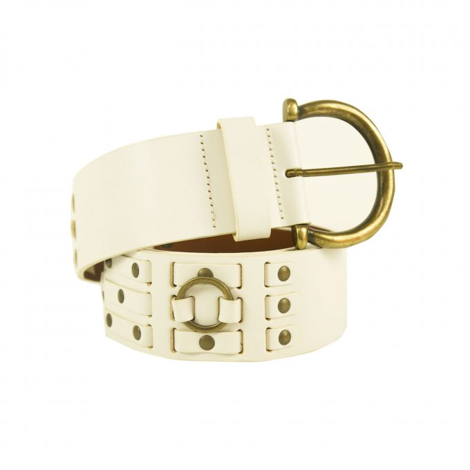 DOLCE & GABBANA D&G Woman's White & Brass Leather Belt SZ 80