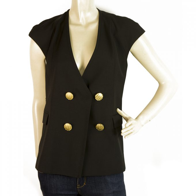 Dondup Black Wool Mohair Gold Tone Large Buttons Vest Jacket Gillet sz 40