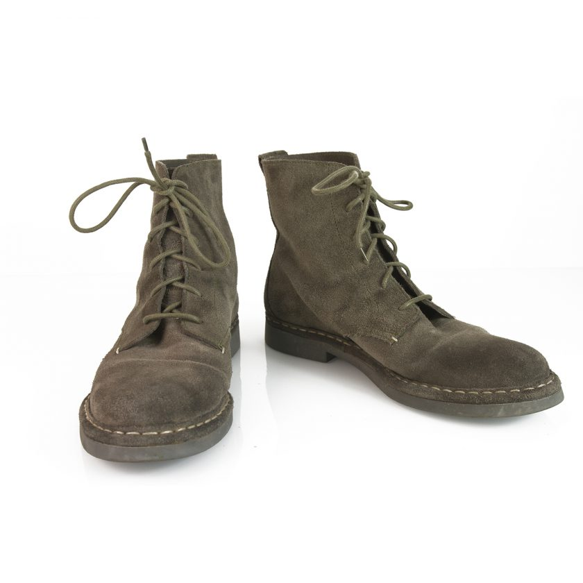Dondup Men's Gray Suede Leather Booties Ankle Boots Shoes size 44 w. Laces